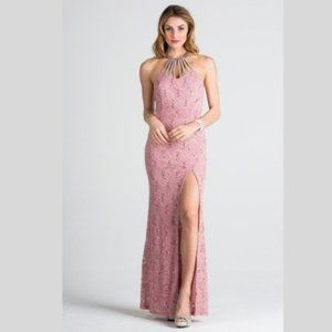 La Scala Dresses - Embellished Neck Lace Bodycon Gown